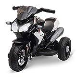 HOMCOM Moto électrique pour Enfants 3 Roues 6 V 3 Km/h Effets Lumineux et sonores Noir