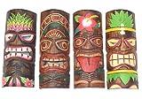 Interlifestyle 4 Colorido Tiki Máscaras 30cm en Hawai Estilo 4er Set Máscara de Madera Máscara de Pared Máscara Pared Isla de Pascua Mares Del Sur el Caribe