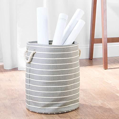 Interdesign 05140EU Luca Corbeille ronde Papier en rotin de coton Gris/Crème 33 x 0,254 x 40,64 cm