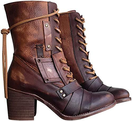 ausuky Damen Chunky Plateau Stiefeletten Schnürschuhe Punk Gothic Icon Retro Schuhe, braun, 43 eu