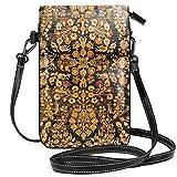 Antigua alfombra persa Khorassan pequeña Crossbody bolsa de teléfono celular monedero titular de la tarjeta bolsa con correa ajustable para las mujeres