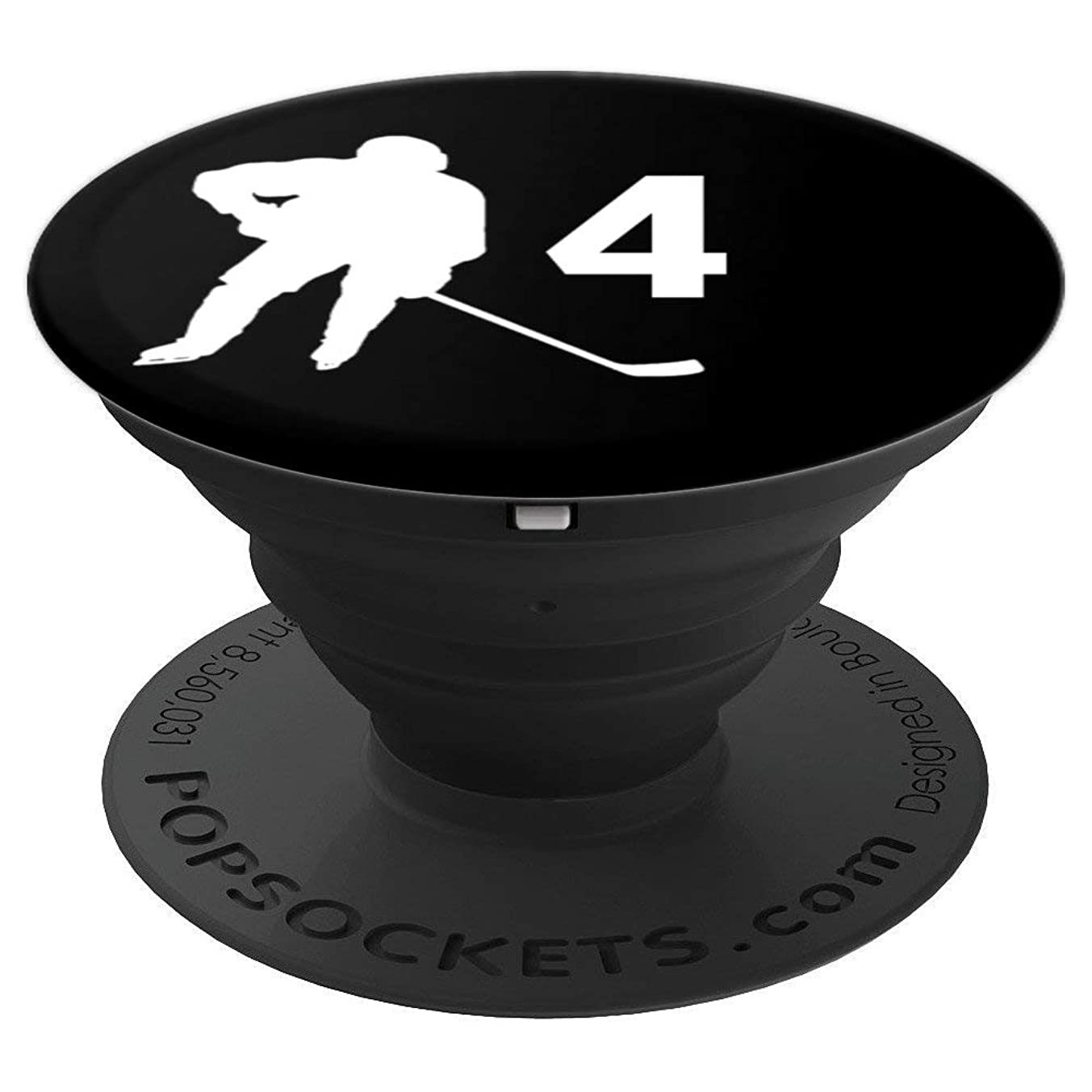 Number 4, #4, Hockey Gifts for Men, Boys, Teens, Women, - PopSockets Grip and Stand for Phones and Tablets