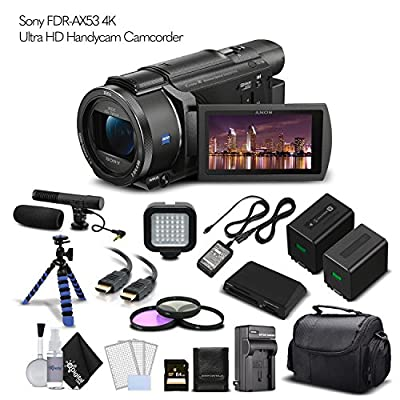Sony FDR-AX53 4K Ultra HD Handycam Camcorder. Extra Battery with Charger + 64GB Memory Card + Tripod + Light + Bag and More - Cinematographer Bundle from eDigitalUSA