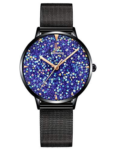 Alienwork Reloj Mujer Relojes Negro Banda de Malla Metálica Azul Strass Purpurina Elegante