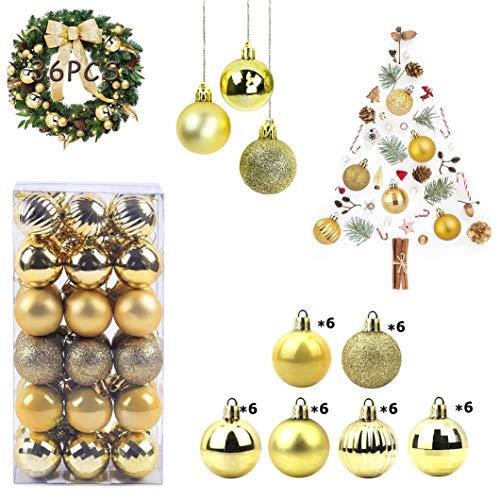 WELLXUNK Bolas de Navidad, 36 Bolas de Decoración Navideña, Bolas de Adornos Navideños BrillantesNavideño para Colgar en la Pared Adornos (Dorado)