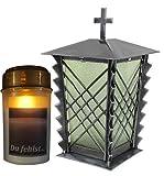 Farol para tumba de acero con rejilla y cristal verde, incluye vela LED, 24 cm, cruz...