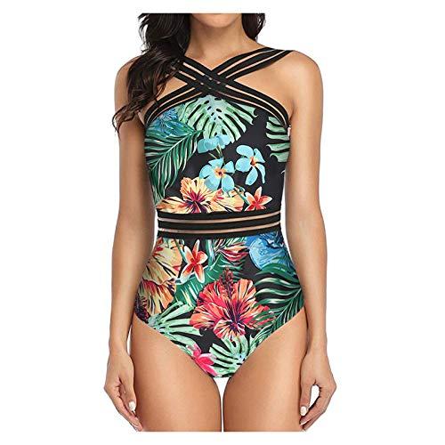 GLZBD 2021 Nouveau Mode Maillot De Bain Femme 1 Piece,Mayo De Bain Bikini Tropical Sexy Combinaison Floral Chic Maillot De Bain Taille Haute Imprimé Rayé Fille Gainant Swimsuit Tenue Plage Monokini