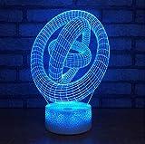 Arte Abstracto Lámpara 3D Luz Nocturna Dormitorio Decorativo Multi 7 Luz De Color Usb Luz Colorida Habitación Infantil