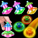 PROLOSO 15 Pack Light Up Spinning Tops for Kids LED Gyro Flashing Peg-Top Spinner Toys Glow in The Dark Party Favors Bulk
