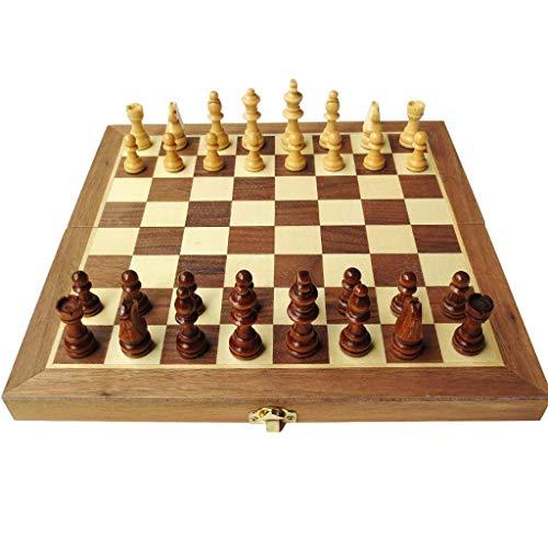 HYLX Juego de ajedrez plegable de madera de alto grado de ajedrez plegable tablero ajedrez juego niños adultos juegos educativos actividades familiares juegos de ajedrez (color: pequeño)
