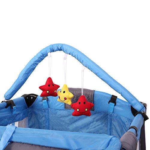 KIDUKU® Cuna de viaje portátil para bebés - Cama infantil para viajar con dos alturas para niños/bebés - 6 colores diferentes, compacta y con altura regulable (Azul Claro)
