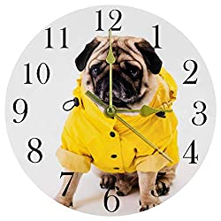 TIKISMILE Pug Apparel Blue Fish Skeleton Wall Clock Silent Non Ticking Acrylic Decorative Round Clock for Office School Living Room Bedroom Home Decoration