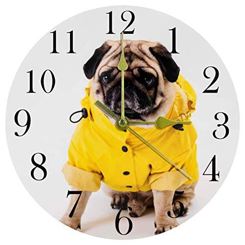 TIKISMILE Wanduhr mit Mops-Bekleidung, blaues Fisch-Skelett, leise, nicht tickend, Acryl, dekorative runde Uhr für Büro, Schule, Wohnzimmer, Schlafzimmer, Heimdekoration