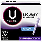 U by Kotex Security Tampons, Regular Absorbency, Unscented, 32 Count (Packaging May Vary)