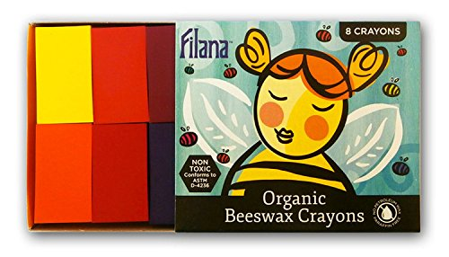 FILANA (8 Block Crayons) Organic Beeswax Block Crayons, Natural, Non Toxic, Safe for Children, Handmade in The US, No Paraffin or Petroleum Waxes, Rich Colors, Glide Easily