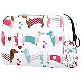 Bolsa de brochas de maquillaje personalizable, bolsa de aseo portátil para mujeres, bolso cosmético, organizador de viaje, perro salchicha