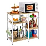 Mr IRONSTONE Kitchen Baker's Rack Utility Storage Shelf Microwave Stand 3-Tier+3-Tier Table for...