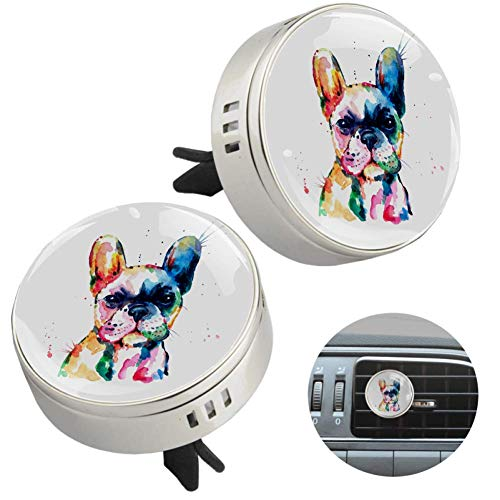 2 Pack Frenchie French Bulldog Watercolor Funny Car Diffuser Vent Clips Car Aromatherapy Essential Oil Diffuser Air Freshener with 4 Refill Pads, Automotive Interior Decoration Gift