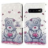 Ailisi Samsung Galaxy S10 Hülle Teddy Bear 3D Muster Handyhülle Schutzhülle PU Leder Wallet Hülle Flip Hülle Klapphüllen Brieftasche Ledertasche Tasche Etui im Bookstyle