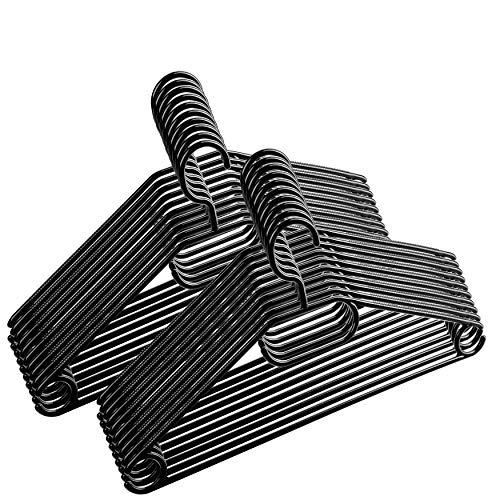 100 Stück - Kleiderbügel Centi Kunststoff Schwarz drehbarer Haken + Schuhlöffel - Made in EU - Umweltfreundlich da 100% Recyclingmaterial