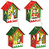 DIYChristmasOrnaments, 4 Pieces Wooden Hanging Christmas Decorations with Christmas Snowman, Christmas Village, Gift Snowman, Make A Snowman,Xmas Decor Gift for Home/Restaurant/Banquet
