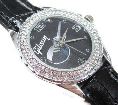 腕時計 メンズ 時計  革バンド  海外ブランド SUS035 wristwatch Diamond Crystal Watch / Gibson Les Paul Guitar