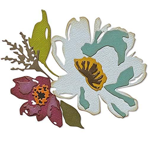 Sizzix Thinlits Die Set 5PK Brushstroke Flowers #3 by Tim Holtz, 665360, Multicolor