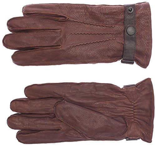 DIDSO Herren Leder Handschuhe aus Hirschleder mit Riegelverschluss, warm, markant, günstig, reduziert, Cognac L
