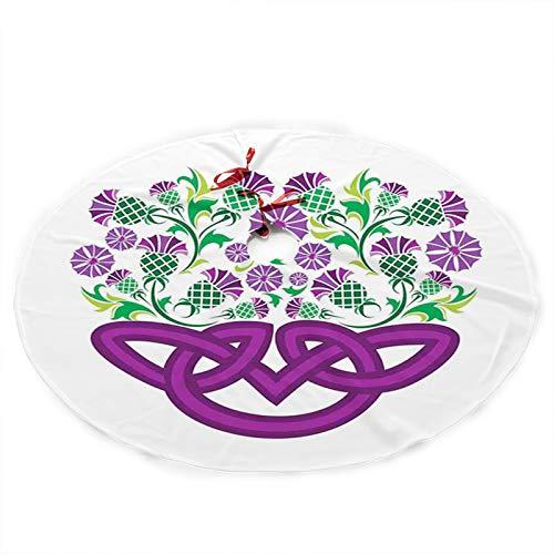 La composición de flores y hojas de helecho FULIYA, nudo celta y planta de cardo en forma de cesta con flores, falda de árbol de Navidad con Navidad, fiesta de Año Nuevo, decoración de falda cojín