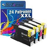 platinumserie–Juego de 24x Cartucho de tinta XXL compatible para Brother LC1240Black cian Magenta Yellow Impresora Brother DCP-J525W DCP-J725DW DCP-J925DW MFC-J430W J5910DW MFC-J625DW MFC-J6510DW MFC-J6710DW MFC-J6910DW MFC-J825DW MFC de MFC-J835DW por 30ml Black y 20ml Color
