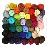 hamstore Filzwolle zum Nassfilzen und Trockenfilzen - 45 Farben Märchenwolle zum filzen von Elfen und Feen aus Filzwolle, natürliche Schafwolle, wunderbar als Spinnwolle zum Spinnen
