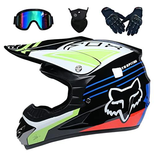 LI DANNA Casco Moto Motocross Bambino, Fox Integrale Motard Downhill Set con Occhiali Guanti Face Mask per Bambini Adulto Bicicletta Enduro MTB BMX Fuoristrada ATV Casco Cross Integrale- Nero Blu,XL