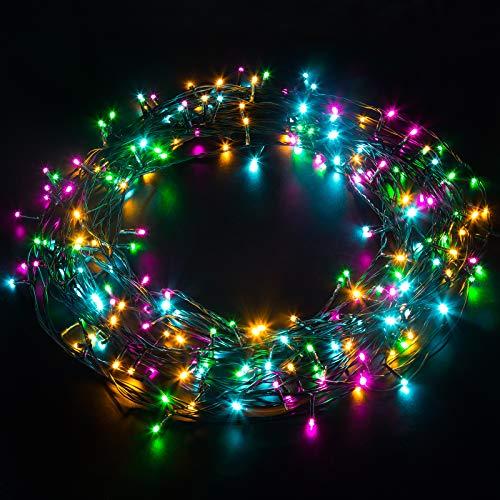 Elegear Luci Natale Esterno 20M 200LEDs Impermeabile Luci Albero Natale Catena Luminosa per Camere da Letto Giardino Feste Matrimonio con 8 Modalità di Illuminazione