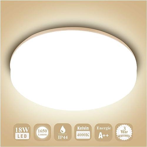 Öuesen 18W imperméable à l'eau LED Plafonnier moderne mince rond LED Lampe de plafond 1650lm Blanc Naturel 4000K Appl...
