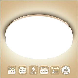 Öuesen 18W imperméable à l'eau LED Plafonnier moderne mince rond LED Lampe de plafond 1650lm Blanc Naturel 4000K Applicabl...