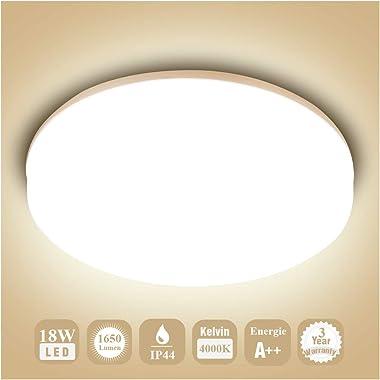 Öuesen 18W imperméable à l'eau LED Plafonnier moderne mince rond LED Lampe de plafond 1650lm Blanc Naturel 4000K Applicable à