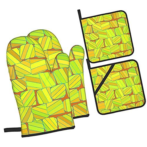 JUQIAO Azulejos guantes para hornear y aislamiento para ollas (juego de 4 piezas), guantes de horno resistentes al calor