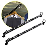 Zento Deals 2 Pack of Heavy Duty Expandable Clothes Bars Car Hangers Rod- Convenient Classic Black Combines with Strong Metal and Rubber Grips and Rings