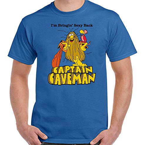 * NEW * Captain Caveman I'm Bringing Sexy Back T-shirt, Blue, S to 3XL