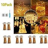 10 Pack LED Flaschenlicht Deko - 2M 20 LED Lichterkette Batterie, Led Korken mit LED Lichterkette für Flasche, Tischdeko Geburtstag, Weihnachten, Hochzeit, Valentinstag, Dekoration Wohnung
