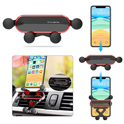 Ossky Soporte Móvil Coche, Universal Soporte Móvil Coche ventilacion Gravedad, Porta Movil Coche para Rejillas del Aire de Coche para iPhone, Android, Samsung, Huawei etc de 4.7 a 6.5Pulgadas Rojo