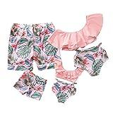 Yaffi Traje de baño a Juego con Volantes Conjunto de Bikini de Dos Piezas Traje de baño Tropical Estampado Mamá y yo Ropa de playaMujeres: M