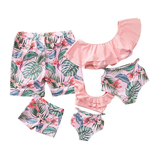 Yaffi Traje de baño a Juego con Volantes Conjunto de Bikini de Dos Piezas Traje de baño Tropical Estampado Mamá y yo Ropa de Playa (Niños Bebes: 12-18 Meses, Rosado)