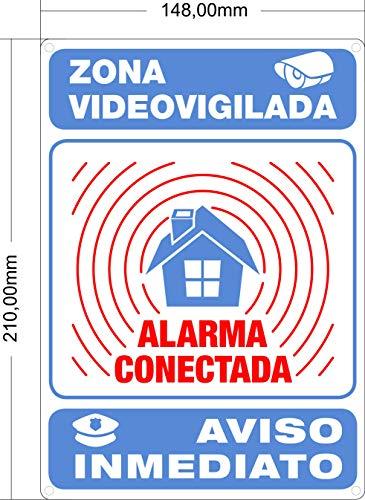 Cartel Disuasorio Interior/exterior Premium y Ultra-resistente Metálico, Cartel Disuasorio Alarma Conectada Aviso policía, 21x15 cm