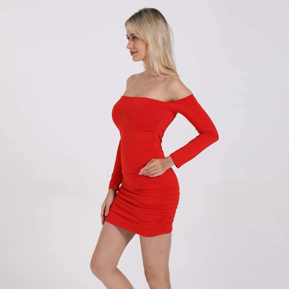 BIXUYAO Women Sexy Dresses/Solid Color Long Sleeve Dress Skinny Folds Tube Top Skirt,Red,L