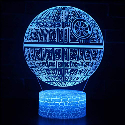 3D Illusion Lamp 16 Colour Changing Acrylic LED Night Light with,Art Sculpture Lights Room Home Decoration,USB Charger, Pretty Cool Toys Gifts Ideas Birthday Holiday Xmas for Baby Death Star