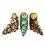 Azhna Juego de 3 juegos de 5 piezas de 15 cm / 5,91 pulgadas, souvenir matrioska, colección sorpresa de diseño de flores, estilo pintado a mano, muñecas rusas, apilables
