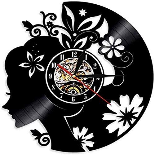 clockfc Reloj de Pared Arte Floral Chica Arte de Pared Hermo