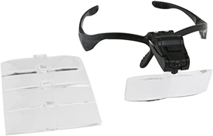 Onerbuy diadema lupa con LED cabeza de la luz Monte lectura lupa visera gafas con 5 lentes desmontables Lense inferior