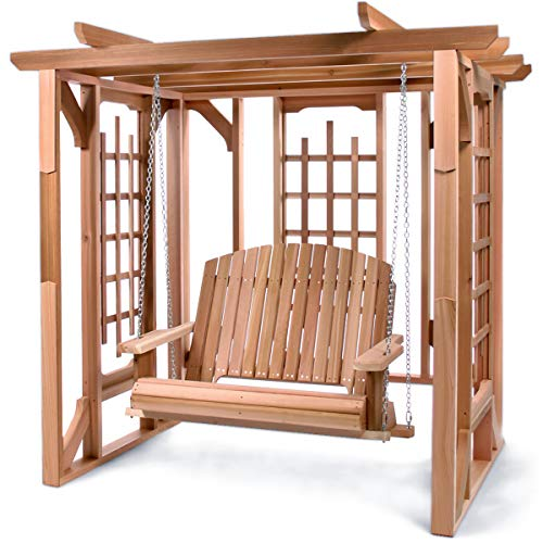 All Things Cedar PO72-S Cedar Pergola Garden Arbor Swing Set